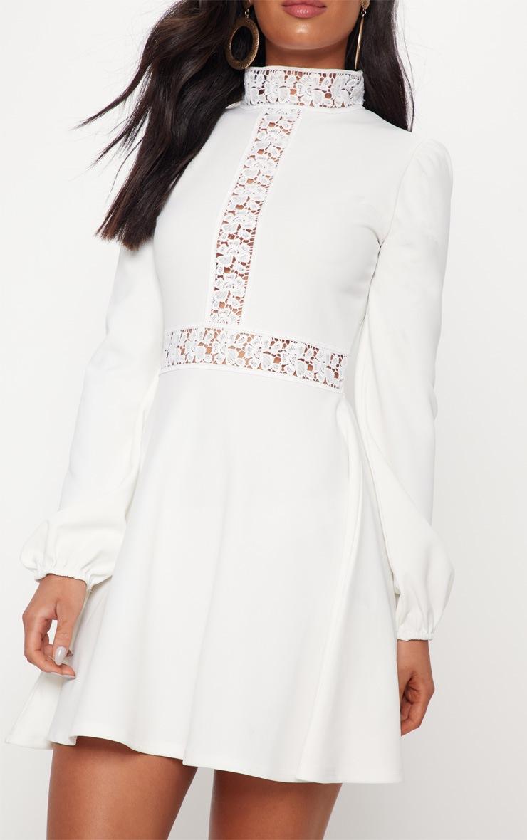 White Trim Detail Skater Dress 5