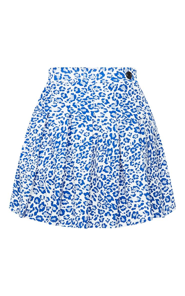 Blue Leopard Print Side Split Tennis Skirt 6