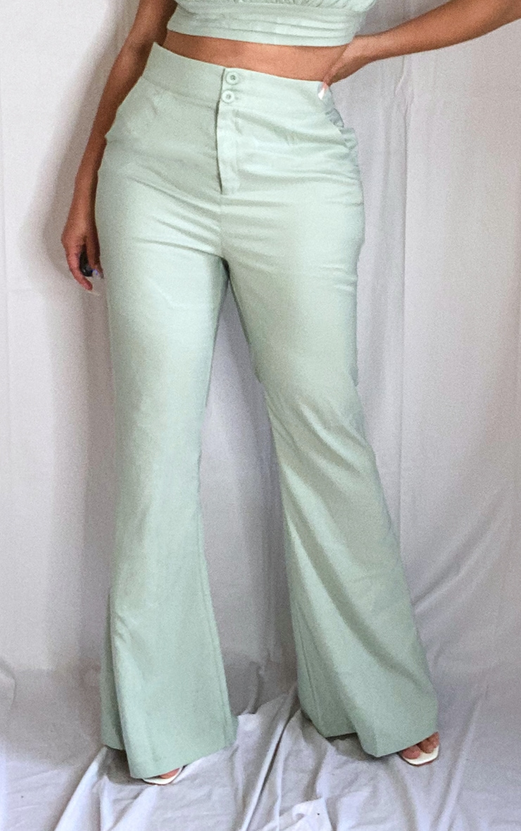 Plus Sage Green High Waisted Double Button Waist Flare 2