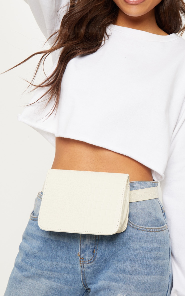Cream Croc Belted Fanny Pack