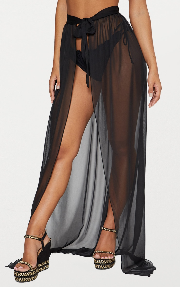 Black Tie Side Maxi Beach Skirt 2