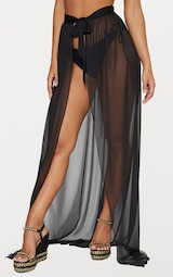 cd780edca Black Tie Side Maxi Beach Skirt | Swimwear | PrettyLittleThing USA