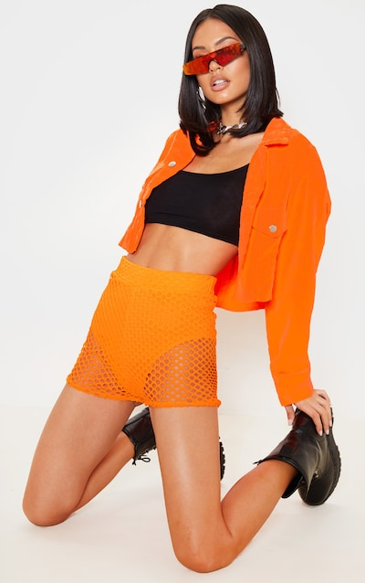 Neon Orange Fishnet Hot Pants