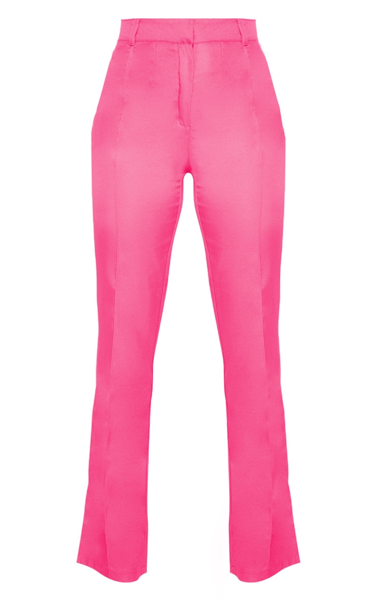 Anala Neon Pink High Waisted Straight Leg Trousers 3