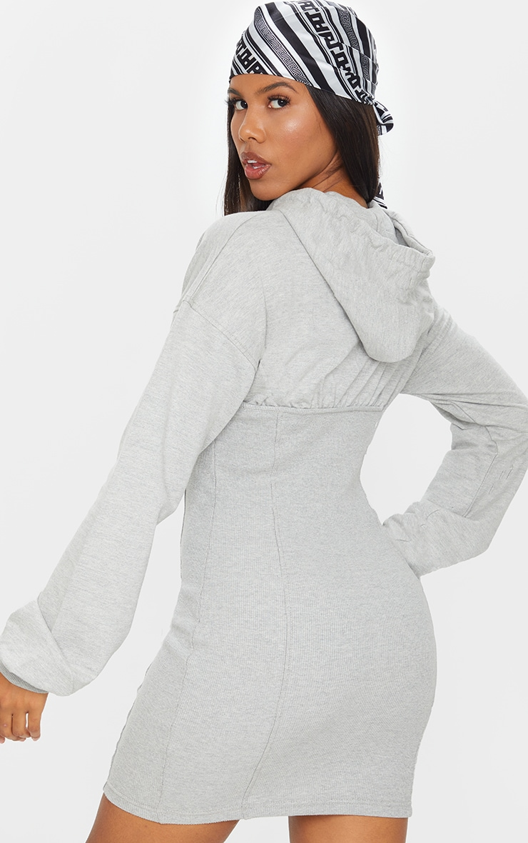 Grey Ribbed Sweat Contrast Cup Detail Jumper Dress 2