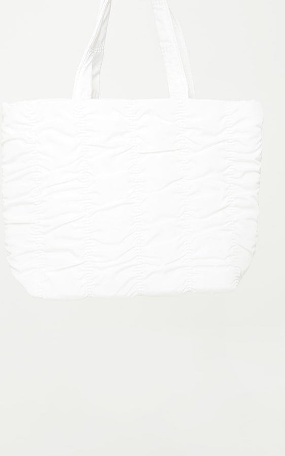 White Ruched Tote Bag 2