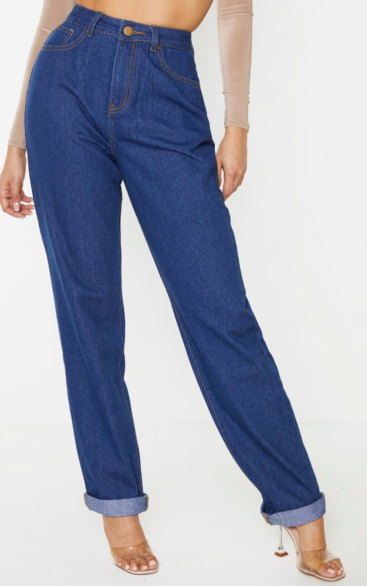 Tall Mid Blue Wash Basic Turn Up Mom Jeans 2