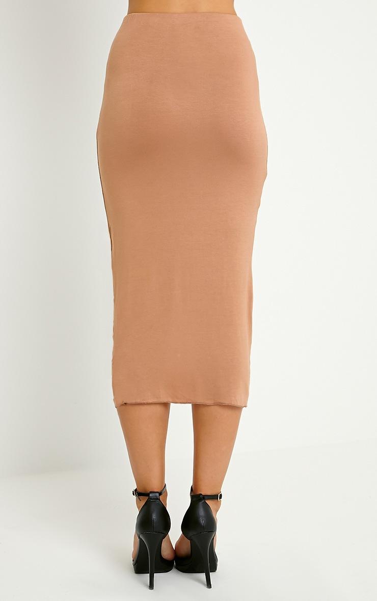 Ivana Camel Drape Midi Skirt 4