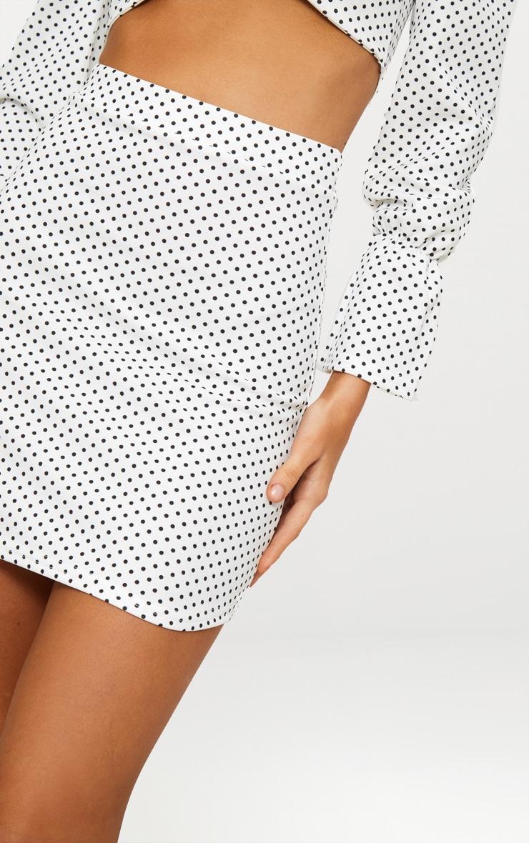 White Polkadot Curve Hem Mini Skirt 6