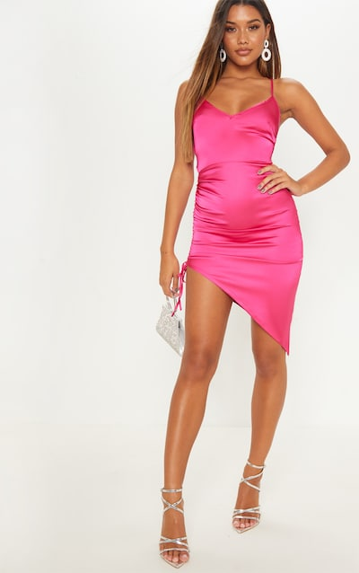 Hot Pink Satin Ruched Lace Up Back Midi Dress