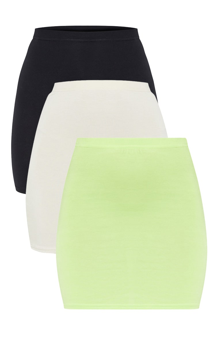 Neon Lime Stone & Black Basic Jersey Mini Skirt 3 Pack 3