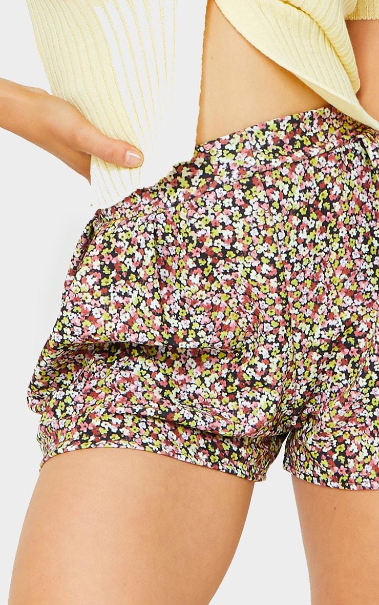 Black Ditsy Print Floaty Shorts 5