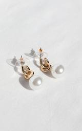 Gold Mini White Pearl Hoop Earrings 2