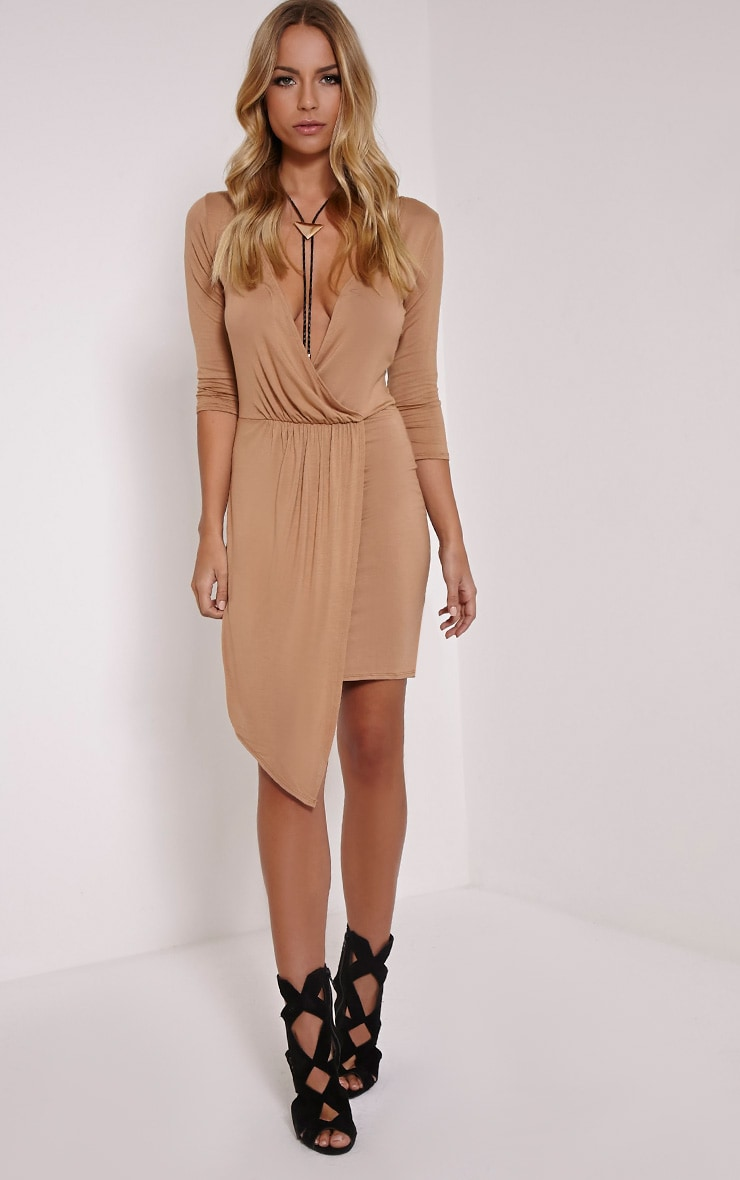 Keevy Camel Jersey Wrap Mini Dress 1