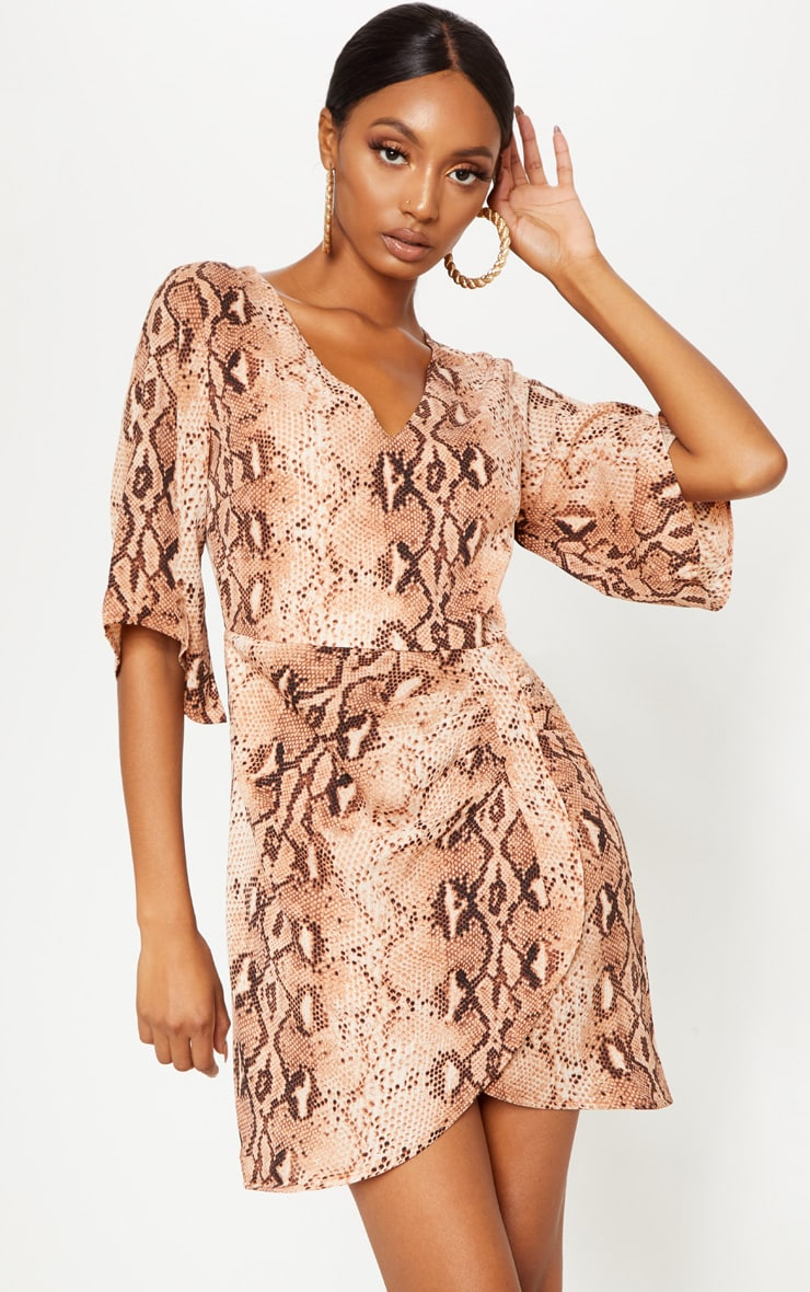 Brown Chiffon Snake Print V Neck Ruched Front Dress 1