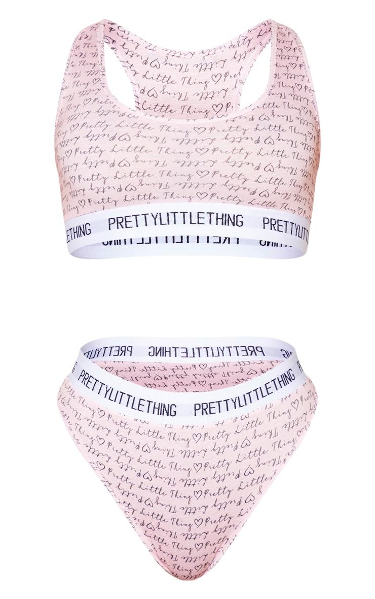 PRETTYLITTLETHING Blush All Over Heart Print Lingerie Set 5