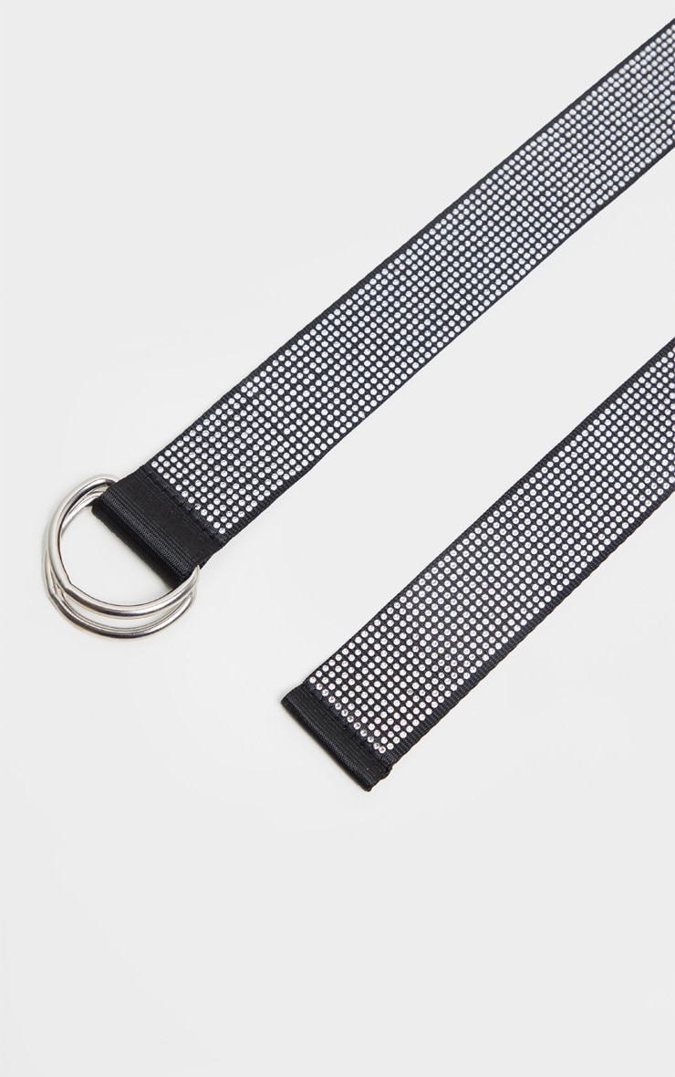 Silver All Over Diamante D Ring Tape Belt 2