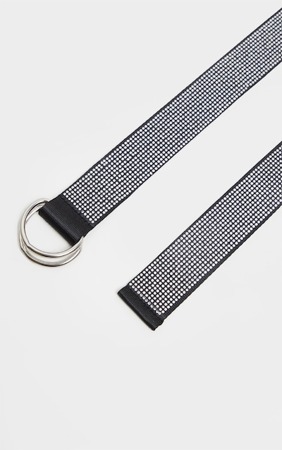 Silver All Over Diamante D Ring Tape Belt