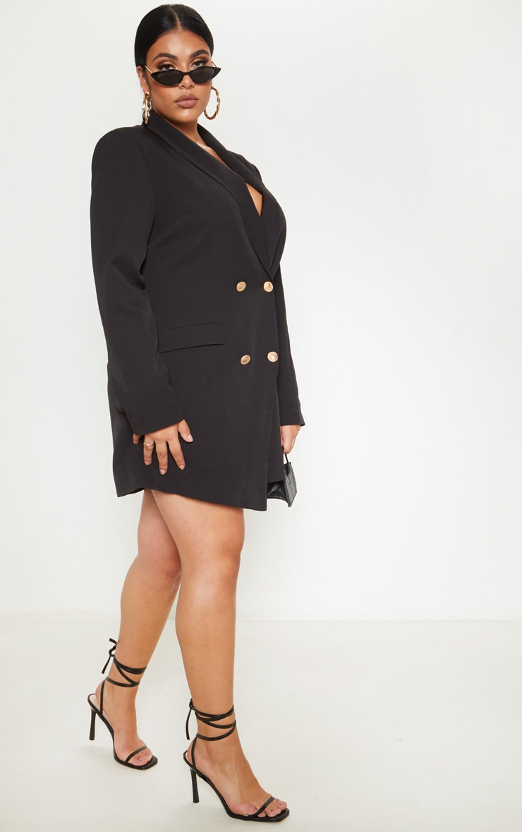 Plus Gold Button Blazer Dress 4