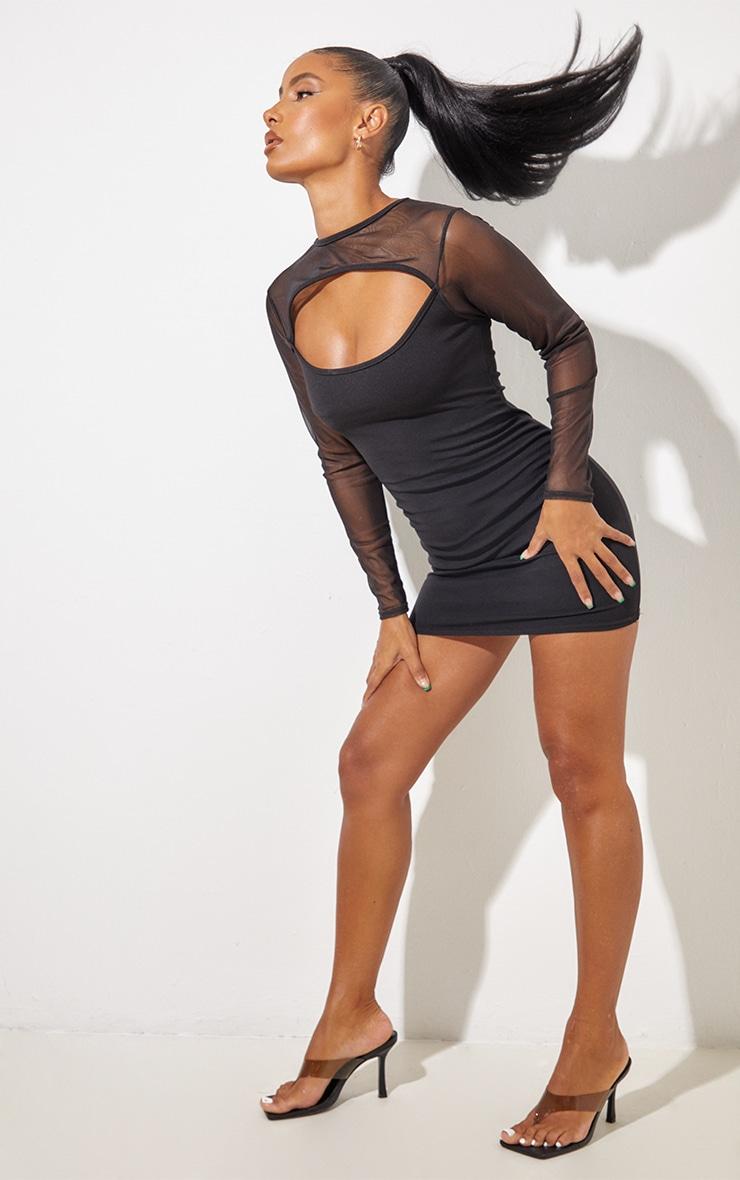 Black Mesh Bodice Cut Out Long Sleeve Bodycon Dress 4