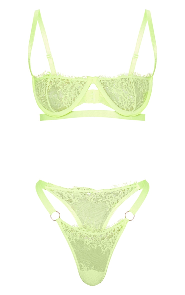 Neon Yellow Ring Detail Underwired Lingerie Set 3