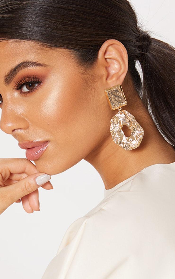 Gold Hammered Irregular Hoop Earring 1