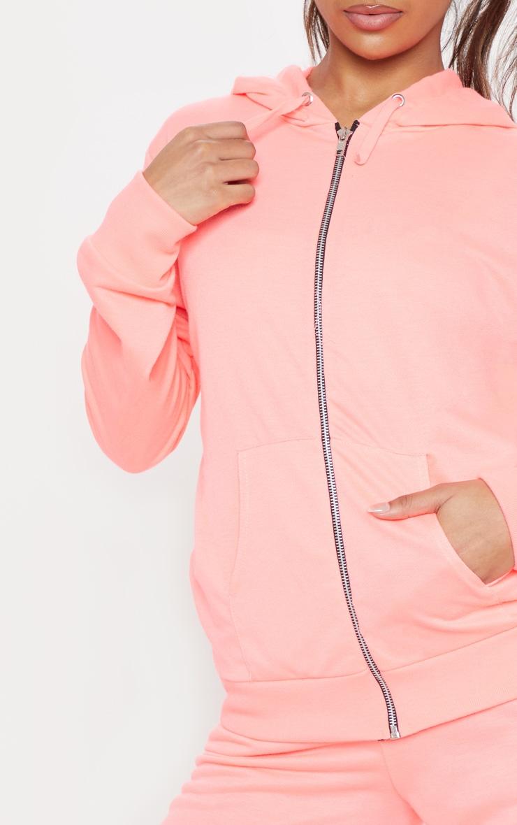 Hoodie basique rose à zip 5
