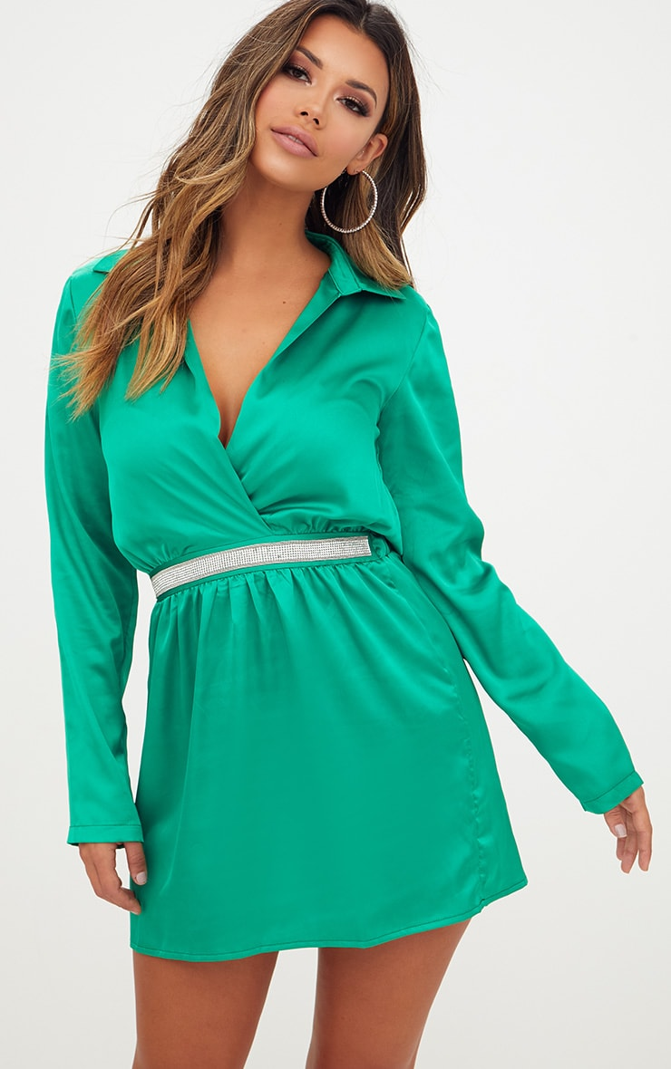 Bright Green Diamante Waist Plunge Front Shift Dress 1