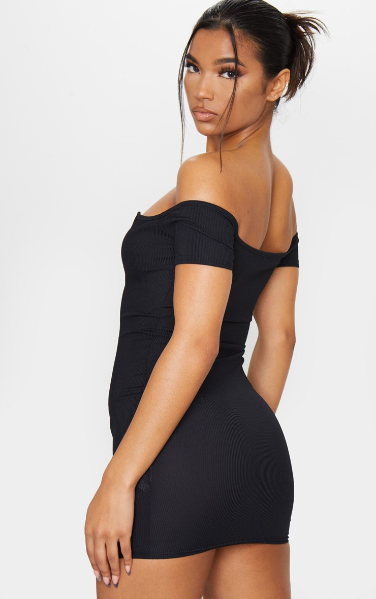Black Ribbed Plunge Bardot Bodycon Dress 2
