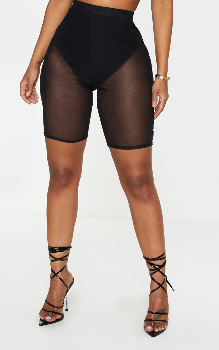 Shape Black Mesh High Waist Bike Shorts 2