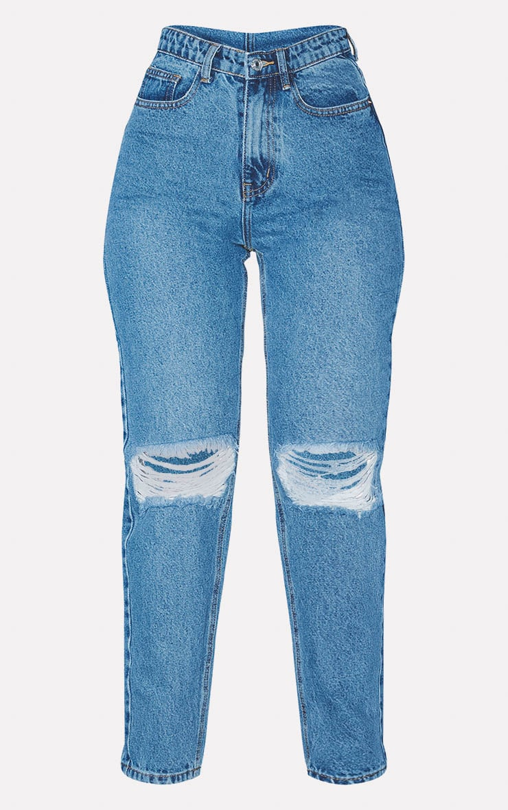 PRETTYLITTLETHING Mid Blue Knee Rip Mom Jean 3