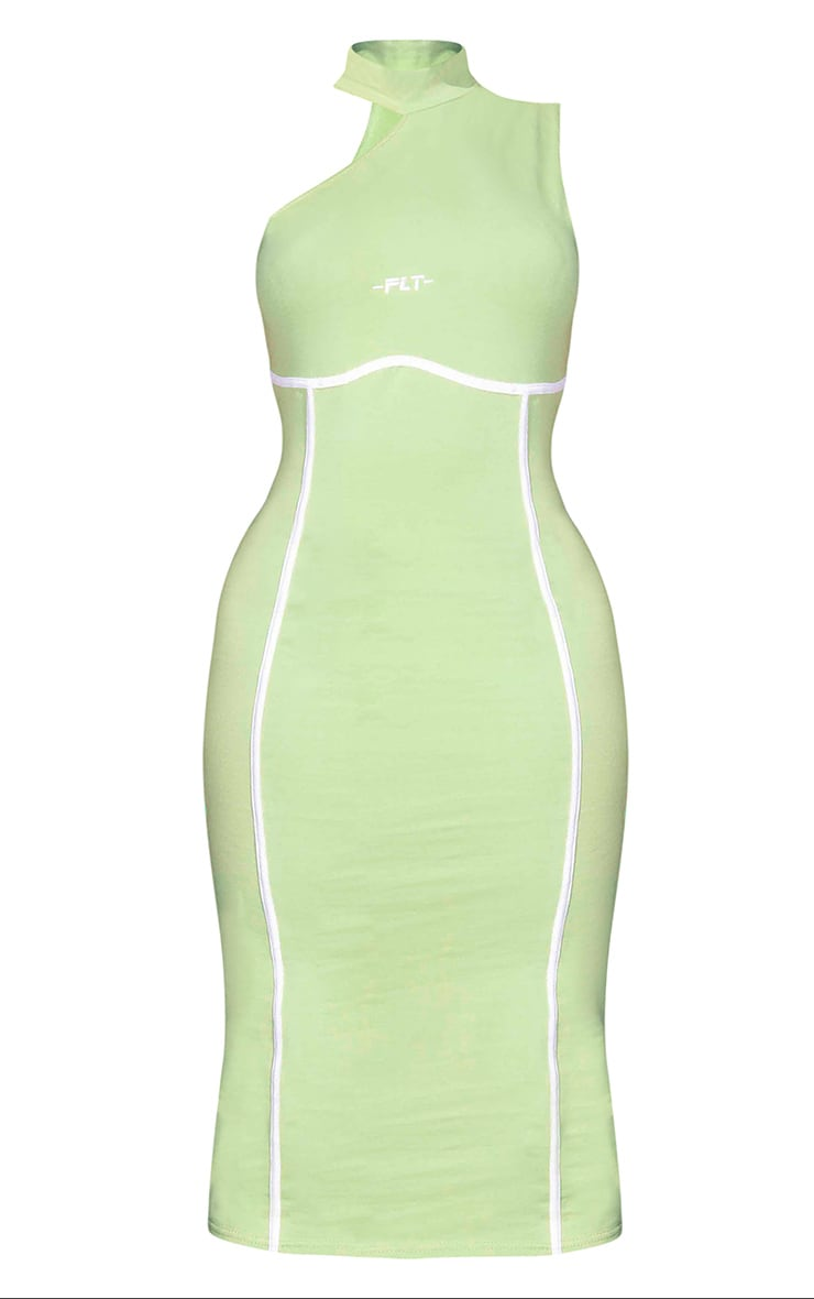 PRETTYLITTLETHING Green Binding Detail High Neck Midi Dress 5