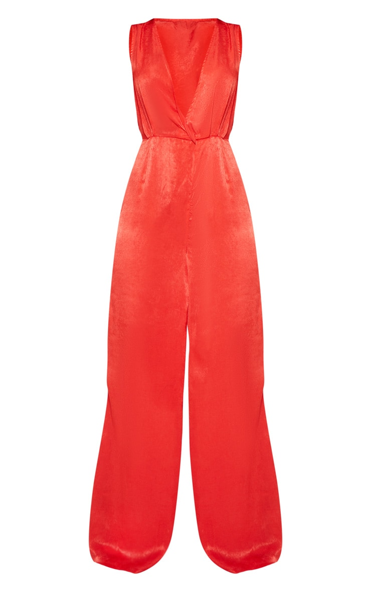 Red Satin Twist Detail Wide Leg Jumpsuit 3