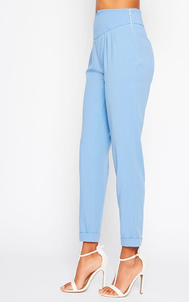 Elenor Blue High Waisted Tapered Pants 4