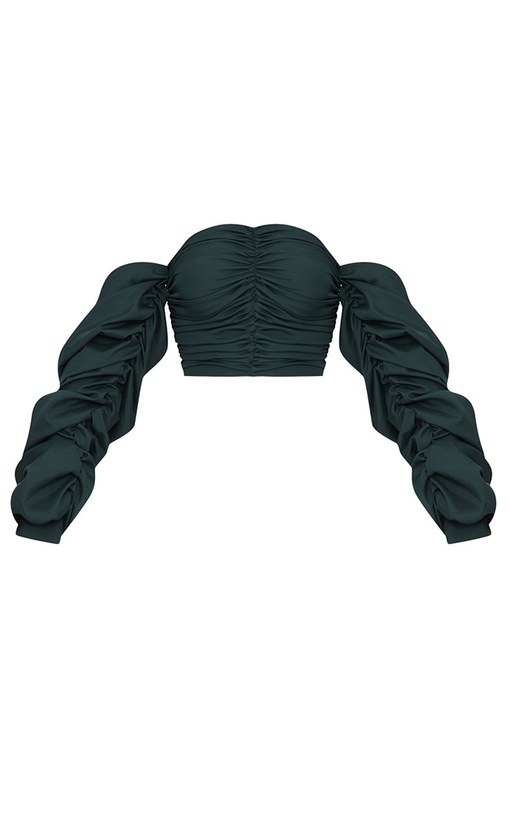 Green Ruched Front Long sleeve Blouse  3