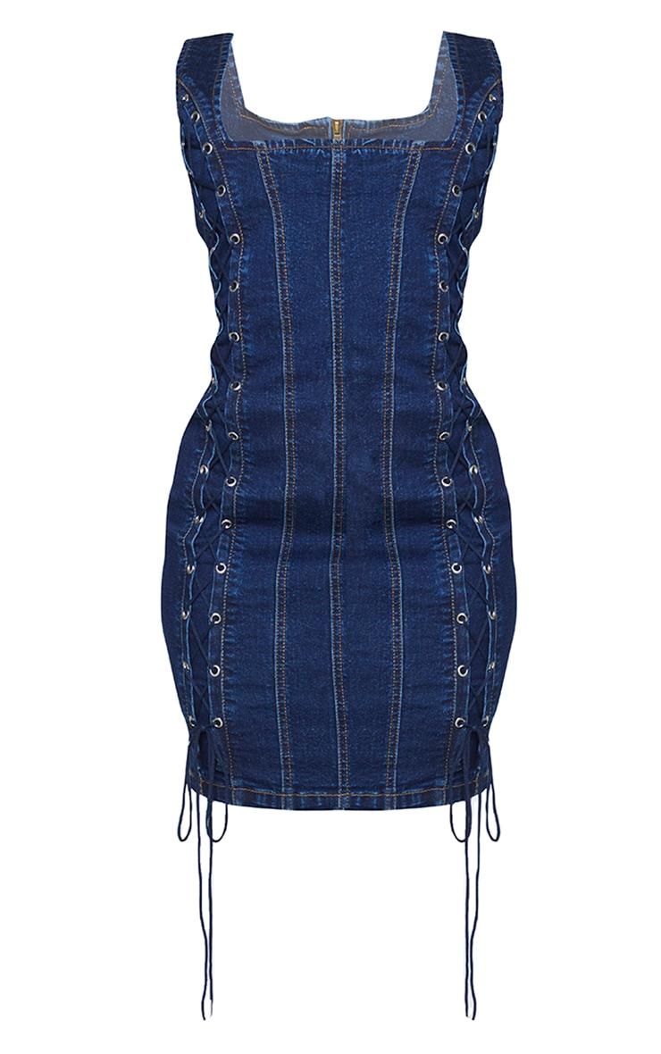 Shape Mid Blue Wash Lace Up Detail Square Neck Denim Bodycon Dress 5
