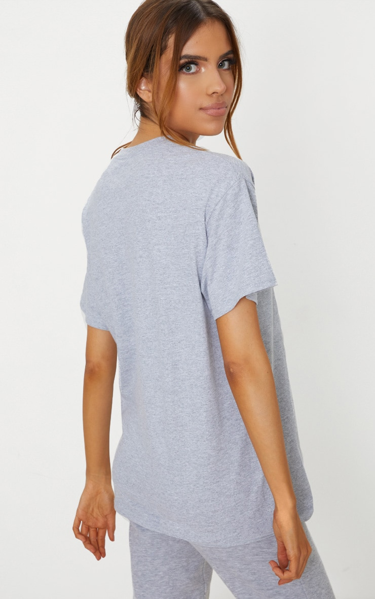 PRETTYLITTLETHING Grey Oversized Slogan T Shirt 2