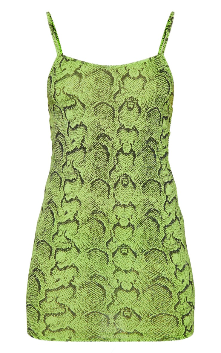 Lime Snake Print Strappy Scoop Neck Bodycon Dress 3