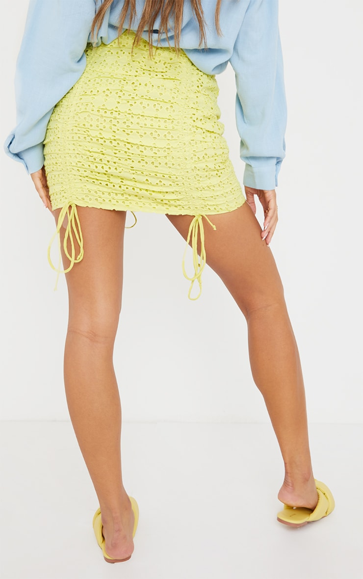 Pale Yellow Broderie Ruched Mini Skirt 3
