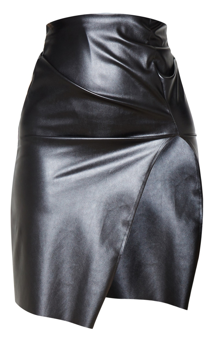 Black Faux Leather Extreme Split Midi Skirt  3