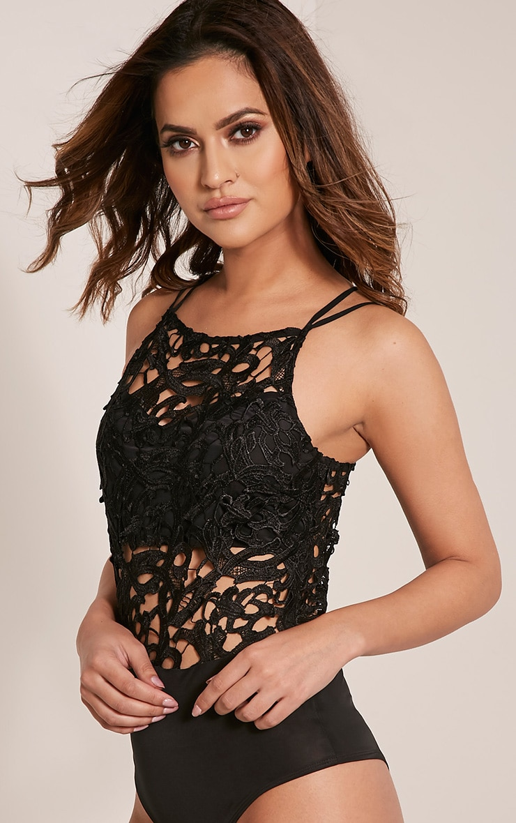 Shania Black Crochet Lace Thong Bodysuit 2