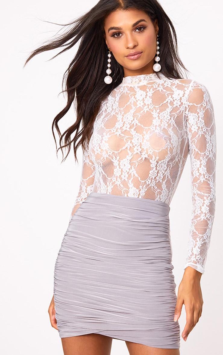 Grey Ruched Layered Mini Skirt 1
