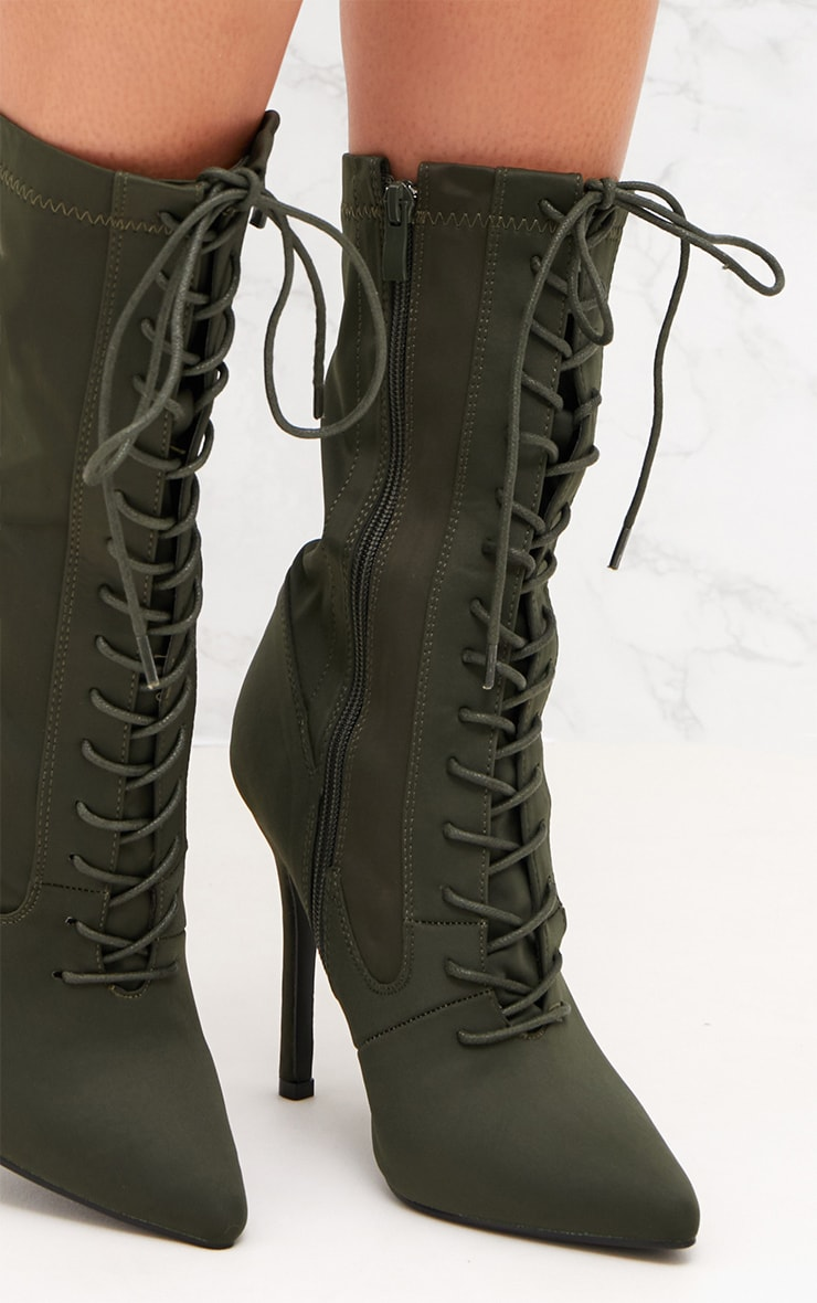 Khaki Lycra Lace Up Ankle Boot 5