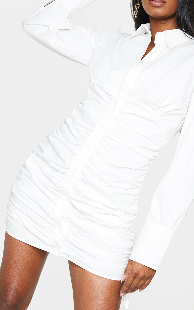 White Ruched Long Sleeve Shirt Dress 4