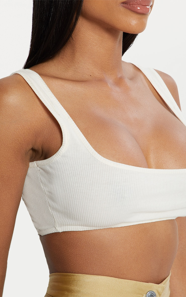 Cream Rib Extreme Scoop Neck Bralet 5