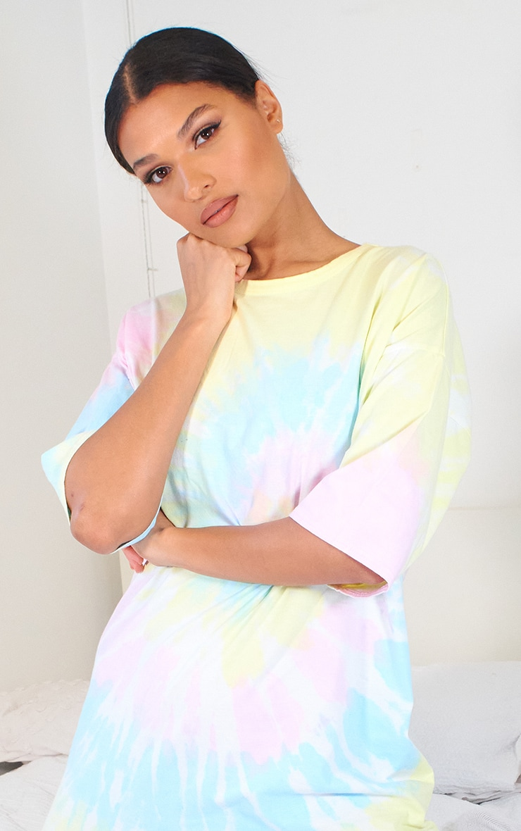 Multi Tie Dye T Shirt Boyfriend Dress 4