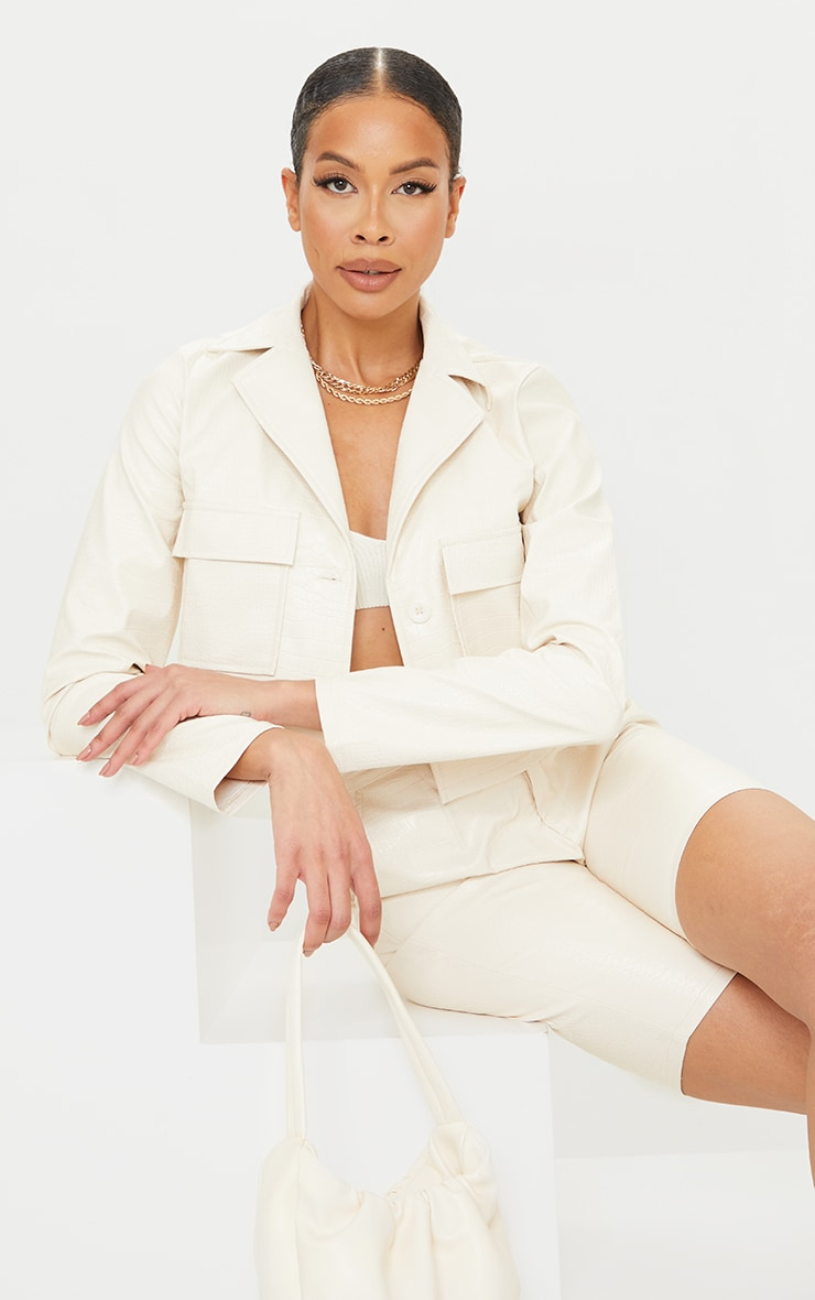 Tall Cream Mock Croc Cropped Trucker Jacket 1