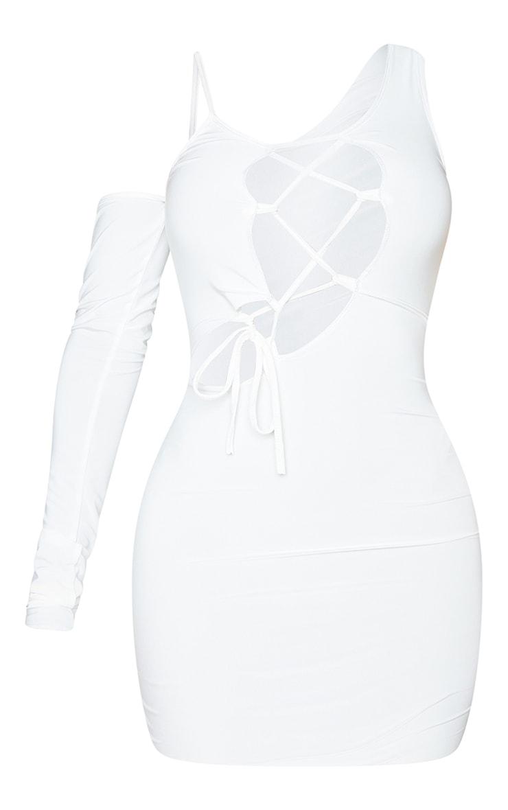 Shape Cream Panel Lace Up Bodycon Dress 5