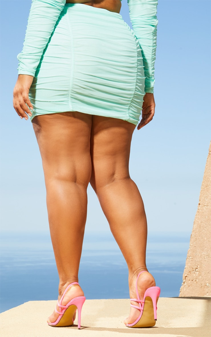 Plus Aqua Second Skin Ruched Mesh Bodycon Skirt 4