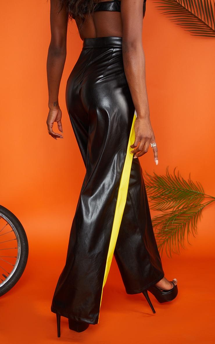 Pantalon ample en similicuir noir à rayures 3